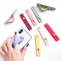 Wholesale band bracket online – custom Silicon Phone Hand Band Holder Universal Finger Ring Holder For iPhone Wristband Strap Push Pull Grip Stand Candy Color Bracket