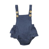 Wholesale hot denim jumpsuits resale online – Hot Sale Denim Sleeless Romper Newborn Baby Girl Ruffle Jeans Romper Summer Fashion Jumpsuit PP Pants Sunsuit Baby