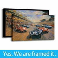 Wholesale race car wall online - HD Print Bedroom Decor The Car Racing Wall Art Canvas Oil Painting Artwork Framed Art Ready To Hang Framed