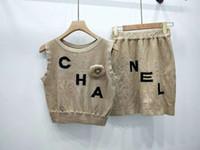 ingrosso gilet di maglione-505 2019 Summer Brand Abito stile SAme + Maglia maglione Lettera Impero di lusso senza maniche Girocollo KIAN QIAN