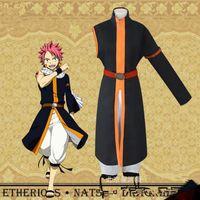 strass en laine blanche achat en gros de-Anime Fairy Tail Natsu Dragneel Cosplay Costumes Uniforme Pantalon Cape