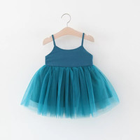 Wholesale above knee pageant dresses for sale - Group buy Pageant Dresses For Girls Clothes Summer Slip Dress Princess Dress Knit Cotton Mesh Lace Skirt Kids Baby Infant Girls Dress Solid Color