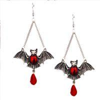 ingrosso orecchini gotici rossi-Original dark gothic vento esagerato Red Blood Dropping Bat vetro rosso gocce Orecchini