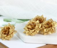 Wholesale mini flowers for scrapbooking resale online - 3 Layer Gold Handmade Mini Artificial Silk Rose Flowers Heads DIY Scrapbooking Garland Fake Flower For Wedding Decorative GA163