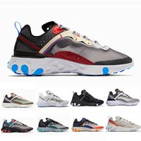 ingrosso donna blu x uomini-2019 Total Orange UNDERCOVER x Upcoming React Element 87 Running Shoes Women Blue Chill Sail Green Mist Men Trainer designer Sports Sneakers