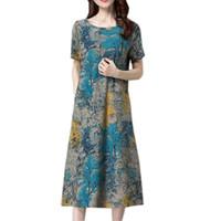 leinen kleidet frauen groihandel-Sommer-Frauen-Kleid plus Größen-Art- und Weisefrauen-Kurzschluss-Hülsen-Baumwollleinen-Kleider druckten beiläufige Mitte - Kalb-Kleider