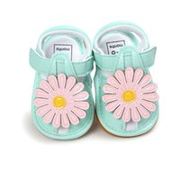 mavi çiçek kız ayakkabıları toptan satış-Yaz Bebek Kız Çiçek Sandalet İlk Walkers Yenidoğan Kız Prenses Ayakkabı Moccasins BluePink Yumuşak Sole Bebek Sandalet.