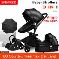 asientos rapidos al por mayor-¡Envío rápido! cochecito de bebé plegable de dos vías empuje de lujo paisaje de alta 3 en 1 carro de bebé con asiento de coche y regalos paraguas