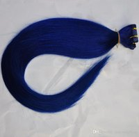 Wholesale tape human hair extensions blue resale online - Blue Color Tape In Human Hair Brazilian hair extensions Natural Straight wave tape in skin weft g