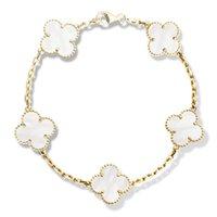 18 k beyaz altın 18 zincir toptan satış-Logo Ile 18 K Altın Dört Yapraklı Yonca Bilezik Toka Doğal Siyah Oniks Sardonyx Beyaz Akik Yonca Charm Zincir Bilezikler