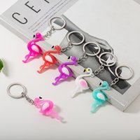 pvc torba hayvanlar toptan satış-Karikatür Flamingo Anahtarlık Yaratıcı Sevimli PVC Ins Hayvan Araba Anahtarlık Moda Çanta Anahtarlık Küçük Kolye Parti Hediye TTA948