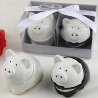 ingrosso souvenir sposo sposo-Bomboniere per sposi Maialini per sposi e sale in ceramica per matrimoni Souvenir e bomboniere per feste di compleanno (2PCS / SET) LX6137