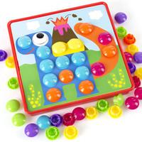 ingrosso grande fungo-In legno 3D Big Mushroom Nail Kit Puzzle giocattolo educativo Button Art gioco composito foto giocattoli regali