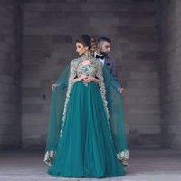 fotos moslemische abendkleider großhandel-2019 100% echte Fotos Saudi-Arabien Eine Linie Abendkleider Lange Cape Green Lace Applizierte Perlen Muslim India Formal Wear Party Kleider