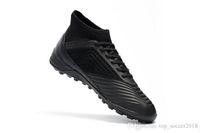 tacos negros messi al por mayor-Negro Full Messi Soccer Cleats Hombres Slip-up 100% original Predator Tango 18.3 TF zapatos de fútbol para interiores