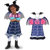 bastão de algodão venda por atacado-Meninas do Dia Das Bruxas Impresso Vestido de Algodão de Manga Curta Dos Desenhos Animados Fantasma Impresso Vestido de Renda Crianças Designer Meninas Outfits Bat Headband 2-7 T 04