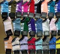 kızlar seksi yaz şortları toptan satış-Pembe Mektup Ayak Bileği Çorap Kadın Spor Pamuk Çorap Terlik Aşk Pembe Halhal Kızlar Seksi Çorap Kısa Çorap VS Yaz Gemisi Çorap Ile TagsW18