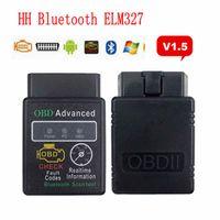 códigos elm327 al por mayor-HH OBD ELM327 V1.5 Herramienta de diagnóstico del escáner OBDII del coche Bluetooth Lector de código de escáner Herramientas de venta caliente HHA70
