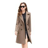 New Wool Coat Female Winter Fashion Long Outwear Woolen Slim Coat Suit-dress Parka Overcoat Women's Jacket Casacos Mujer