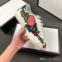 Wholesale various leather resale online - Top Quality Luxury embroidered striped Designer Shoes Various Styles Comfort Mens Womens ACE white Genuine Leather Sneakers Casual Shoes m3