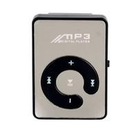 Wholesale 500PCS Mirror Clip USB MP3 Player Sport Support GB TF Card Portable Mini Music Media Player