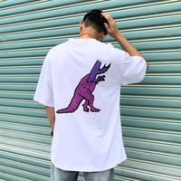 camiseta preta hip hop venda por atacado-Novo Voltar Dinossauro Carta Imprimir Tee Designer de Camisas dos homens das Mulheres de Alta Qualidade Preto E Branco Hip Hop Manga Curta HFSSTX245