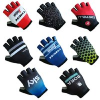 Wholesale fingerless bike gloves for sale - Group buy 9 Colors Uci Pro Team Cycling Gloves with GEL Shock Absorption High Quality Fingerless Summer Half Finger Bike Gloves Accessories