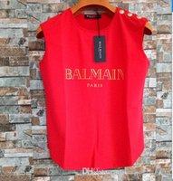 kadın camis toptan satış-Kadınlar Tasarımcı Yelek tişörtleri 2019 Marka Bayan Kolsuz Gömlek Düğmeleri Tanklar Kadınlar Lüks Camiş 19 Stiller Tops