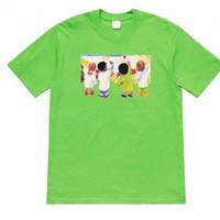 camisa crianças casal t venda por atacado-19SS Crianças Tee Crianças Pintura Graffiti Mangas Curtas alta Moda de Rua Algodão Mulheres Casal Tamanho Dos Homens mens designer T-Shirt HFSSTX147