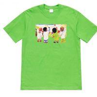 camiseta del tamaño del niño al por mayor-Camiseta para niños 19SS Pintura para niños Graffiti Mangas cortas High Street Fashion Algodón Mujeres Pareja Tamaño EE. UU. Para hombre Camiseta de diseño HFSSTX147