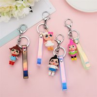 Wholesale pendant glue for sale - Group buy Newest Doll Keyring Soft Glue Key Buckle Lovely Dolls keychain Laser Leather Rope Keys Ring Cartoon Bags Pendant Party Favor
