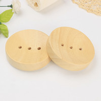 Wholesale car sink for sale - Group buy Bathroom Wooden Soap Dishes Sink Deck Bathtub Shower Soap Holder Round Hand Craft Natural Wooden Holder For Sponges Scrubber Soap ZZA1155