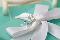 cajas en forma de corona al por mayor-Paloma Graffiti Corona Forma Colgante Collar Joyería de Las Mujeres TFCo Collar de Plata de Ley 925 Diseñador con Caja de Regalo Original Azul Embalaje