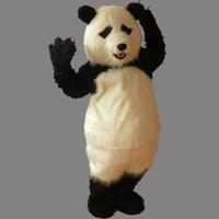 erwachsene kostüm tragen outfit großhandel-Erwachsene Größe Cartoon Party Panda Kostüm Weihnachten niedlichen Panda Bär Schneemann Maskottchen Outfit Halloween Chirastmas Party Kostüm nach Maß