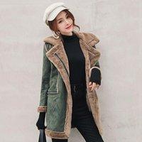 ingrosso lana di cotone agnello-2019 rivestimento delle donne inverno Agnello lana medio-lungo casuale della pelle di daino velluto spessa Coat Turn-giù il collare Cotton Zipper Jacket