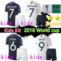 Wholesale kids world soccer jerseys for sale - Group buy New Star world cup Jersey MBAPPE kids kit GRIEZMANN POGBA Home away Blue white mbappe soccer jersey DEMBELE MARTIAL football shirt