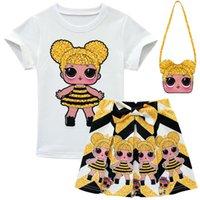 kleiderhüte für kinder großhandel-Überraschung Mädchen 3-10Y Kinder Cartoon Outfit T shirt + rock + tasche 3 stücke Sets Kind Kurzes Kleid T Anzug INS Baby Hüte Sommer Kleidung 15 Stil B73003