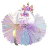 ingrosso un abito da bambino di un anno-Unicorn Dress Bambini Fancy 1 ° Compleanno Abiti per ragazze Abiti da festa Principessa Costume Baby One Year Dress Abbigliamento per ragazze