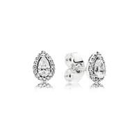 boucles d'oreilles achat en gros de-Authentique 925 Sterling CZ diamant boucles d'oreilles boîte d'origine pour Pandora larme goutte Stud cadeau de mariage pour les femmes