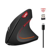 ingrosso la guarigione della luce-T22 Wireless Mouse Ergonomico ottico 2.4G 800/1200 / 1600DPI Colorful Light polso Healing Bluetooth Mouse verticale per PC
