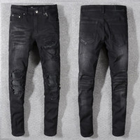 top distressed jeans großhandel-2019 Top-Qualität Marke Schwarze Jeans für Männer Löcher Distressed Moto Biker Denim Biker Jeans Slim Fit Baumwolljeans Herren lange Hose