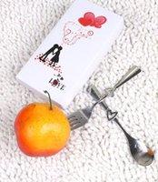 fleurs de mariage cuillère à fourche achat en gros de-New 2 en1 coeur amour fourchette cuillère amant mariage Favors arts de la table de dîner en acier inoxydable cadeau couverts