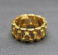 anéis estilo coroa venda por atacado-24K banhado a ouro 10 milímetros de luxo de aço inoxidável Ligação Anel Hip hop dos homens pulseira Presidente Estilo Crown banda anel tamanho 8-12