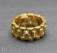 anillos de hip hop de acero inoxidable al por mayor-Tamaño 24K chapado en oro de 10 mm de lujo anillo de eslabones de acero inoxidable Hip hop para hombre correa Presidente estilo de la corona anillo de la venda 8-12