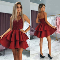 Wholesale black prom dress sequin top resale online - Sparkly Dark Red Sequin Lace Top Homecoming Dresses Backless Short Mini Cocktail Dress Prom Gowns