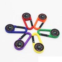 bússola multifunções venda por atacado-Colorido Mini Plastic Carabiner Portátil Multi Função Bússola Líquida Para Acampamento Ao Ar Livre Caminhadas Montanhismo Fivela LJJZ464