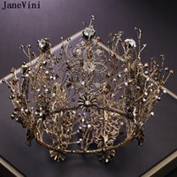 ingrosso regina corone pieno rotonde-JaneVini Vintage Baroque Gold Full Round Beaded Big Princess Crown per Wedding Tiara Gioielli per capelli da sposa Queen Crown Accessories