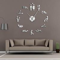 jogo de amor para adultos venda por atacado-Jogo Sexy Kama Sutra DIY Quarto Adulto Decorativo Relógio De Parede Gigante Posição Amor Sexual Sem Moldura Grande Relógio de Parede Arte