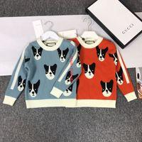 ingrosso cane tessuto cotone-Maglioni per bambini abbigliamento firmato per bambini rivestito in tessuto cashmere con motivo a motivo autunnale pullover per ragazzi e ragazze