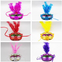 Wholesale feather carnival costumes resale online - Feather Mask Masquerade wedding party Masks Dance Party Decoration Lady Sexy masks Carnival Mardi Gras Costume